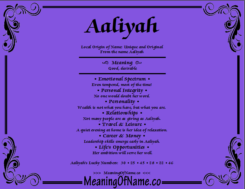 Meaning of Name Aaliyah