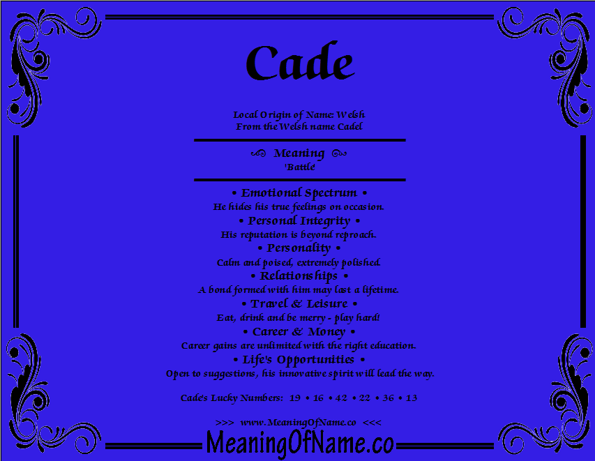 Meaning of Name Cade