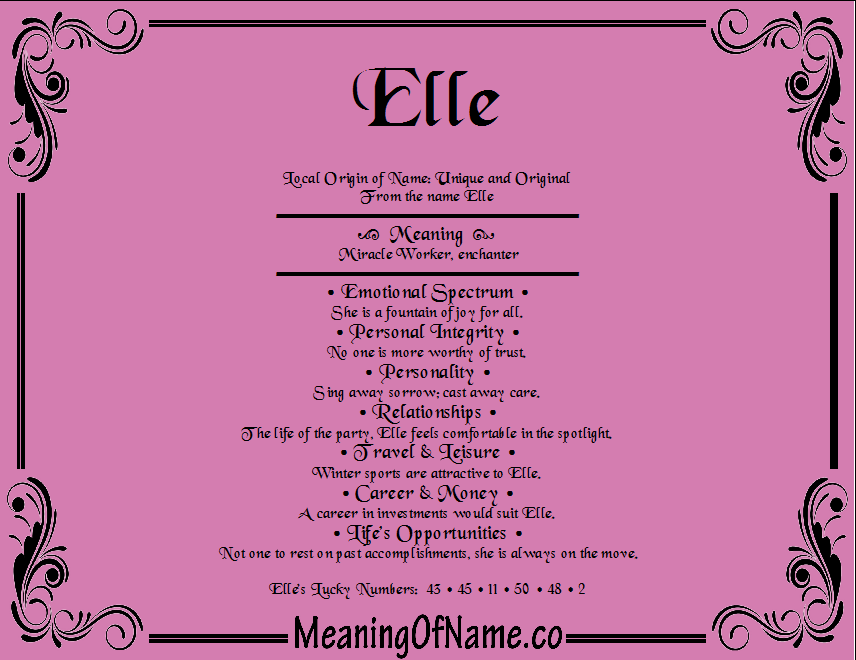 Meaning Of Name Elle