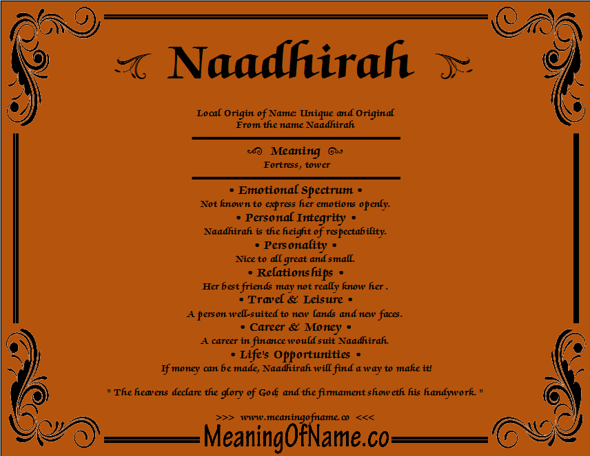 Meaning of Name Naadhira