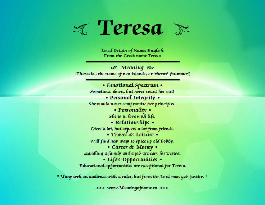 Teresa - Meaning of Name