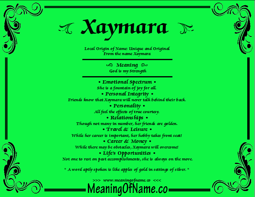 Meaning of Name Xaymara