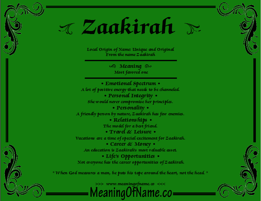 Meaning of Name Zaakirah