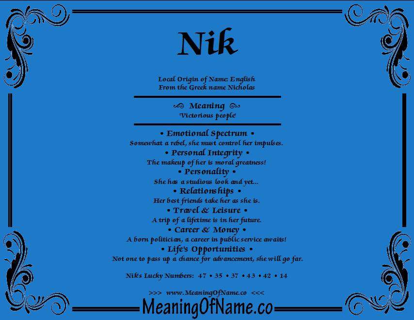 Nik names