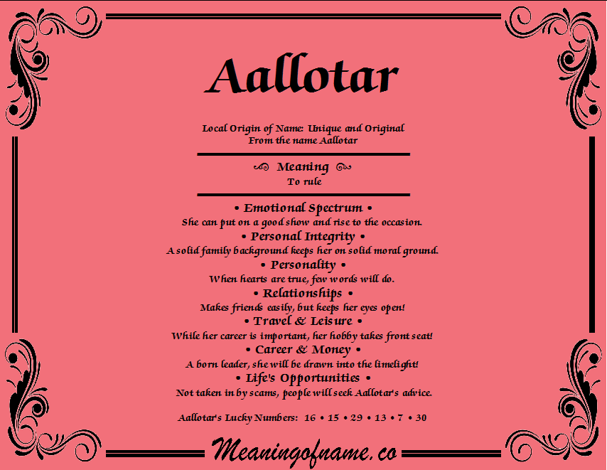Meaning of Name Aallotar