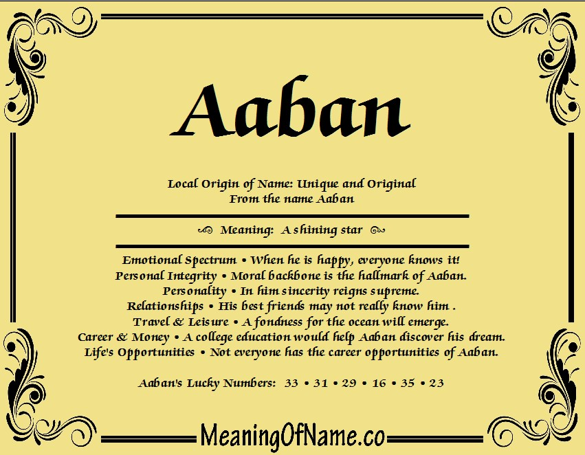 Meaning of Name Aaban