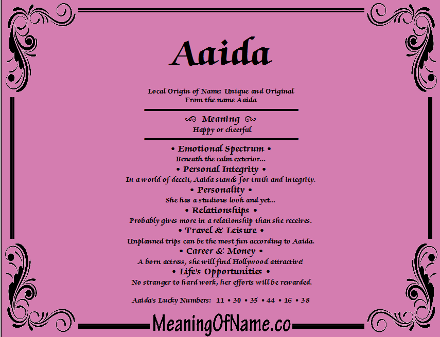 Meaning of Name Aaida