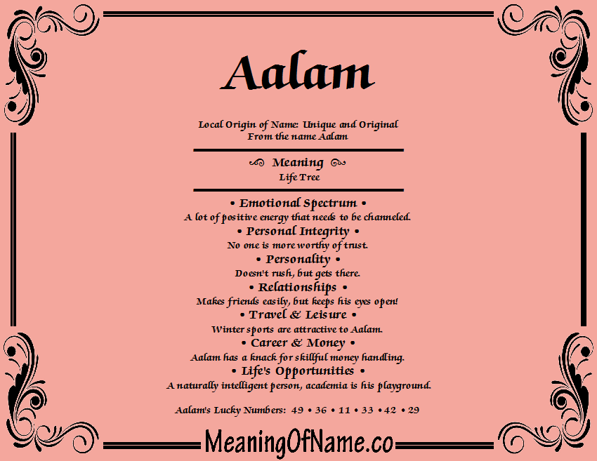 Meaning of Name Aalam