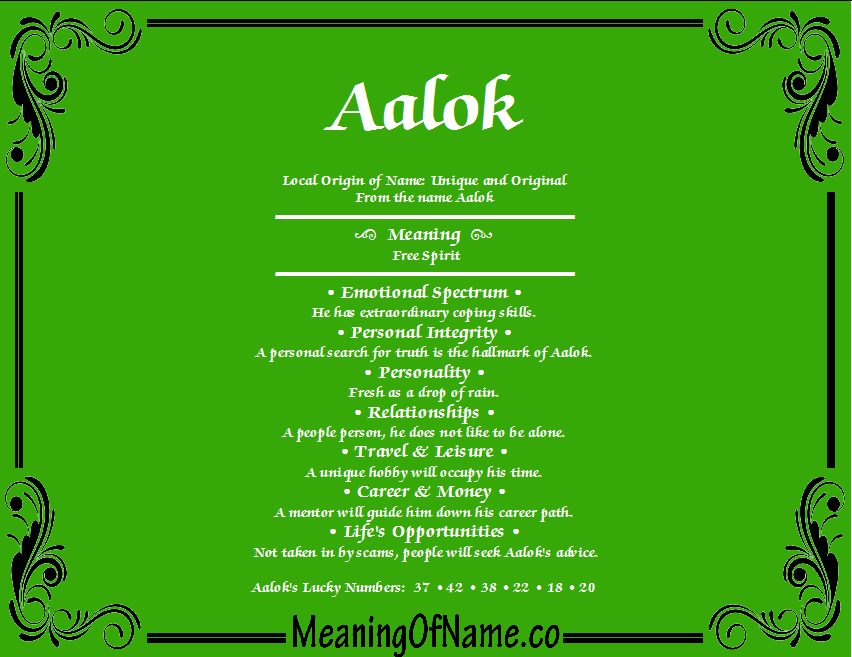 Meaning of Name Aalok