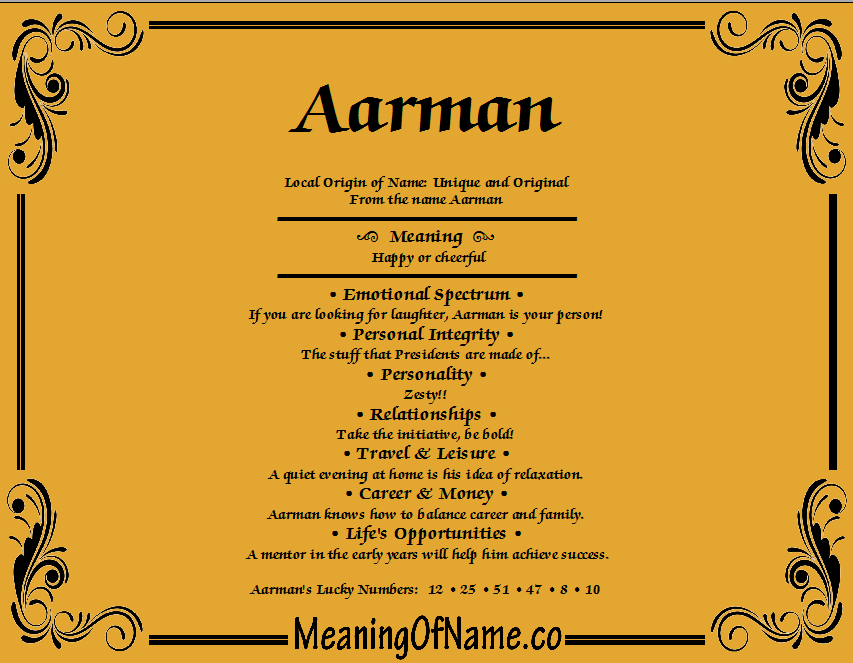 Meaning of Name Aarman