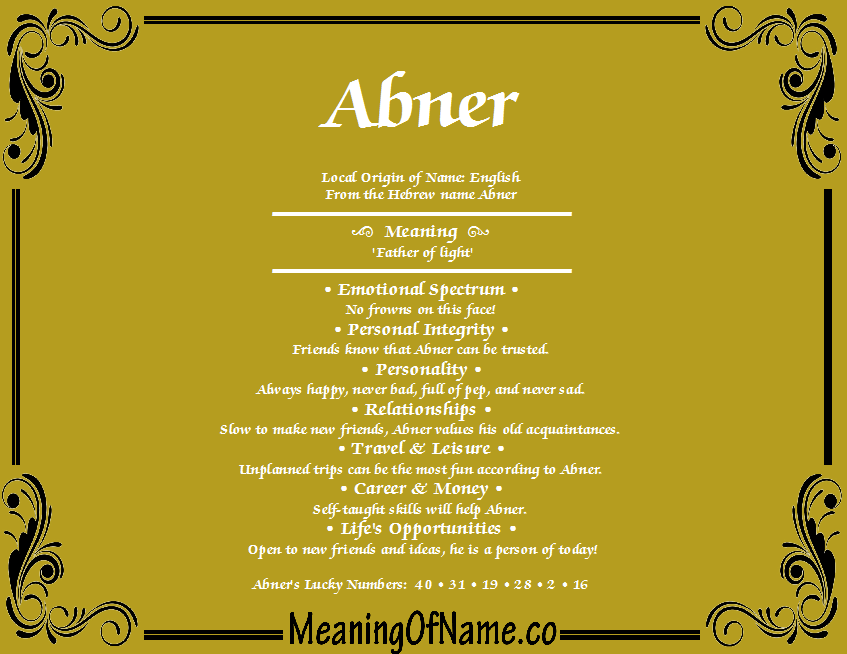 Meaning of Name Abner