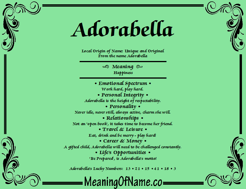 Adorabella - Meaning of Name