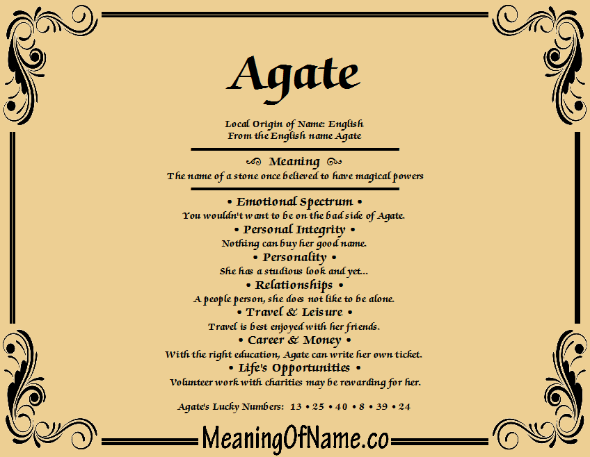 Meaning of Name Agate