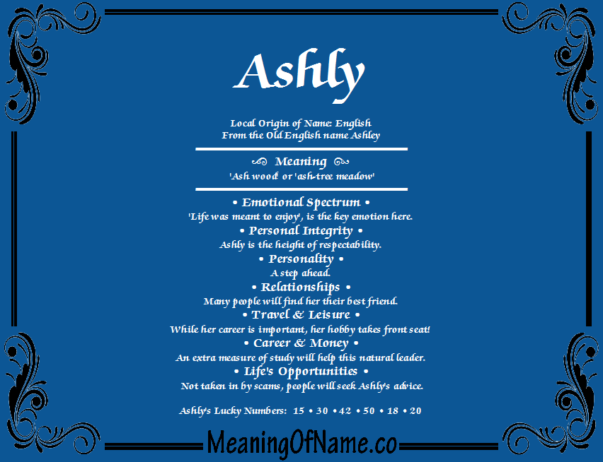 Meaning Of Name Ashly