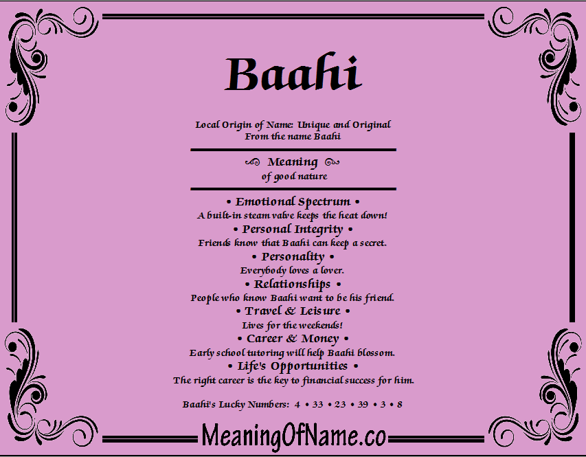 Meaning of Name Baahil