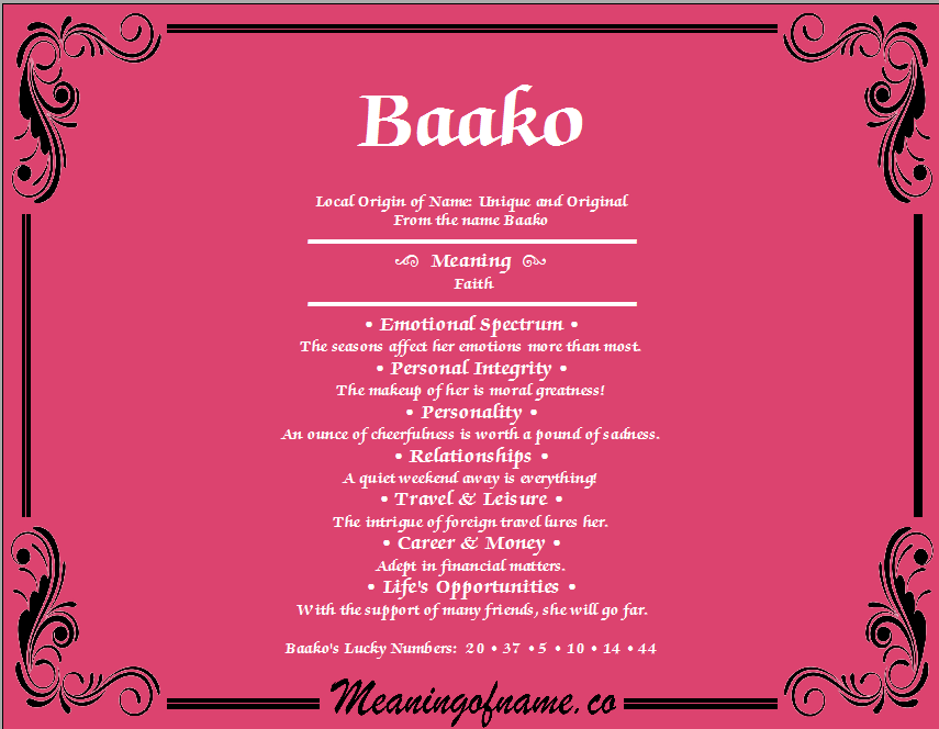 Meaning of Name Baako