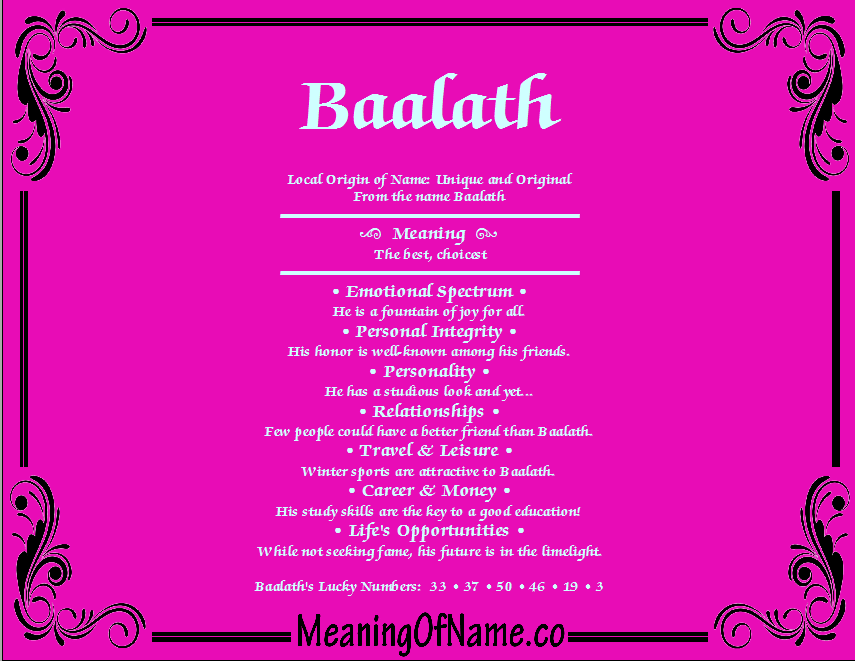 Meaning of Name Baalath