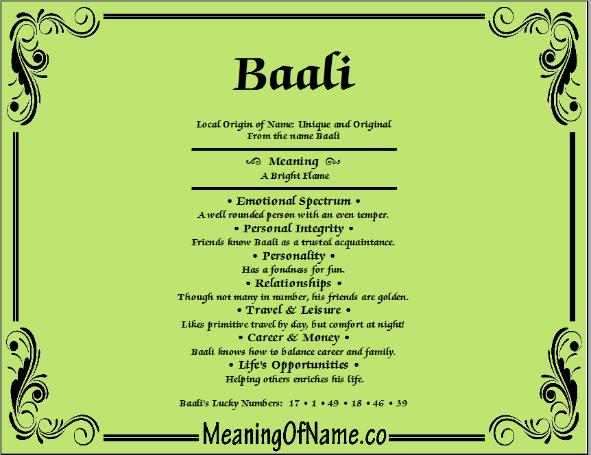 Meaning of Name Baali