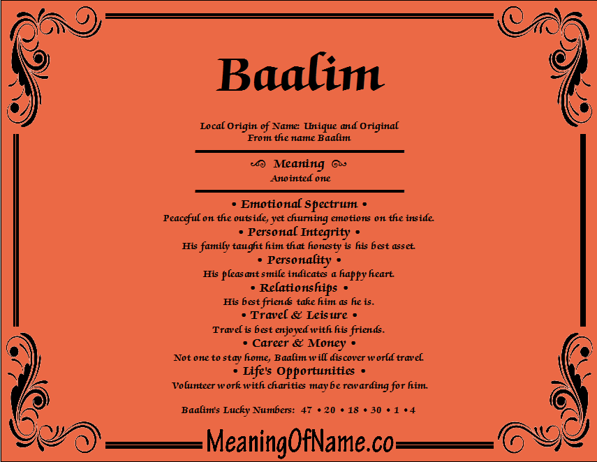 Meaning of Name Baalim