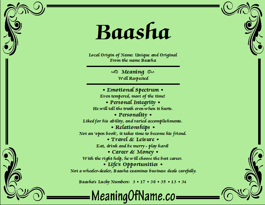 Meaning of Name Baasha