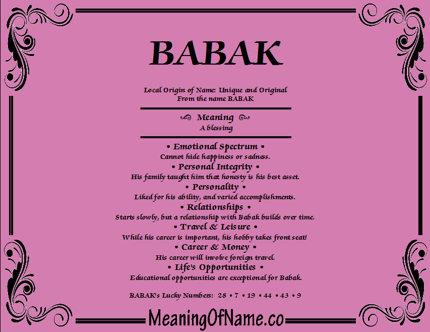 Meaning of Name Babak