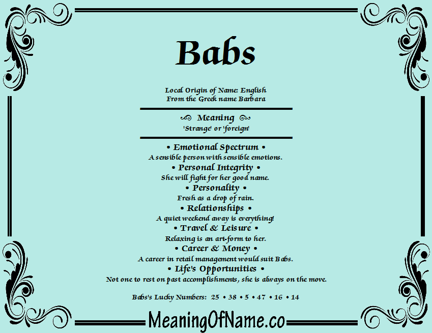 Meaning of Name Babs
