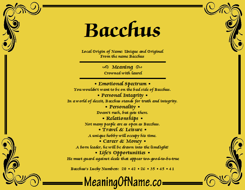 Meaning of Name Bacchus