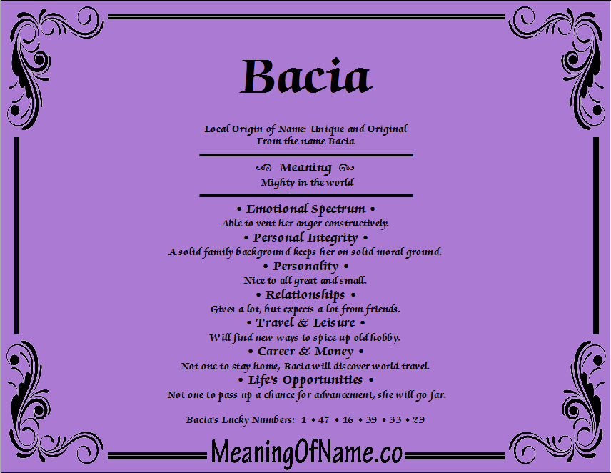 Meaning of Name Bacia