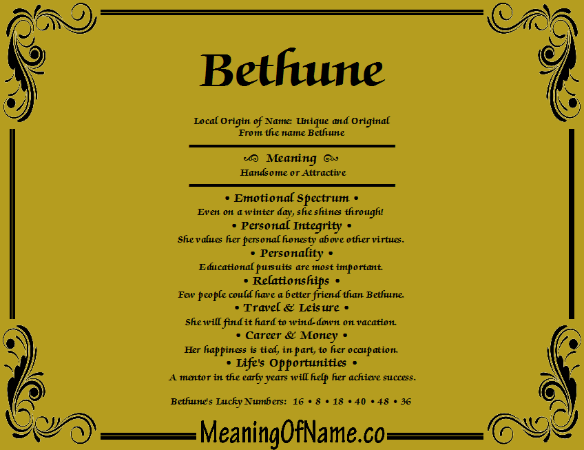 Meaning of Name Bethune
