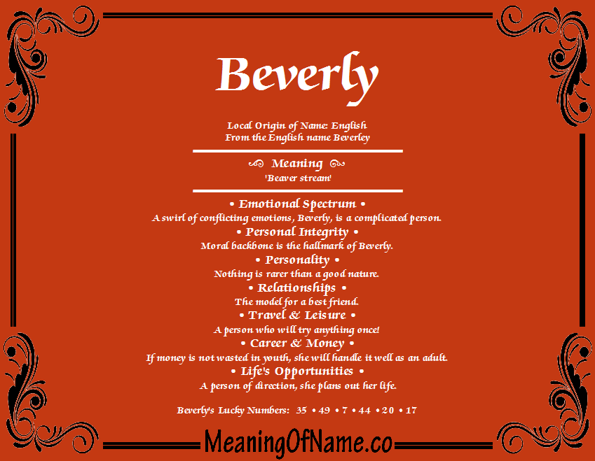 Beverly - Meaning of Name  Beverly - Meani...
