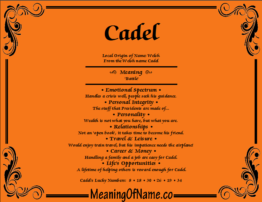 Meaning of Name Cadel