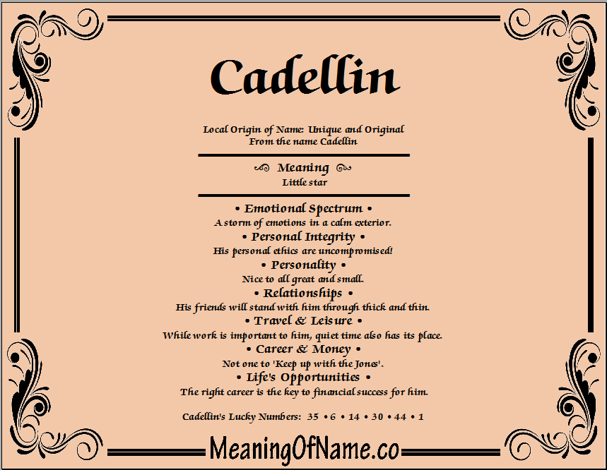 Meaning of Name Cadellin