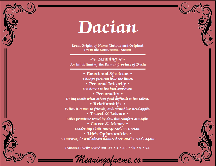 Meaning of Name Dacian