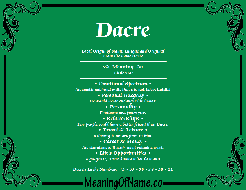 Meaning of Name Dacre