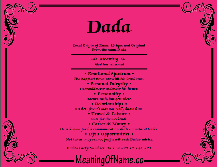 Meaning of Name Dada