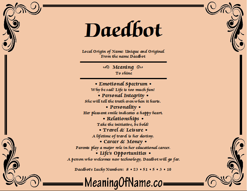 Meaning of Name Daedbot