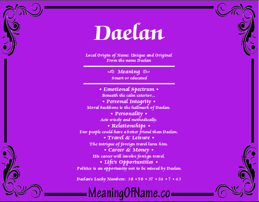 Meaning of Name Daelan