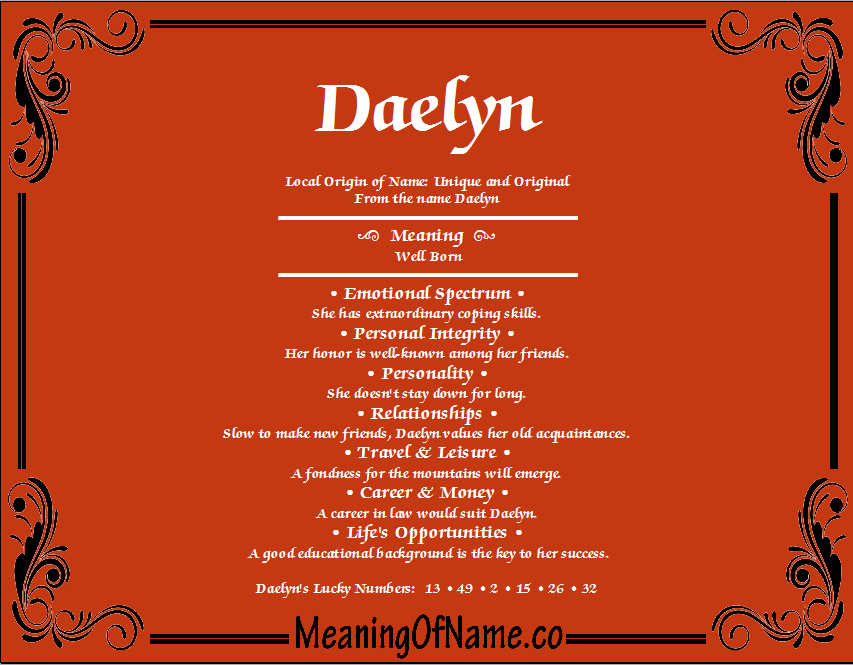 Meaning of Name Daelyn