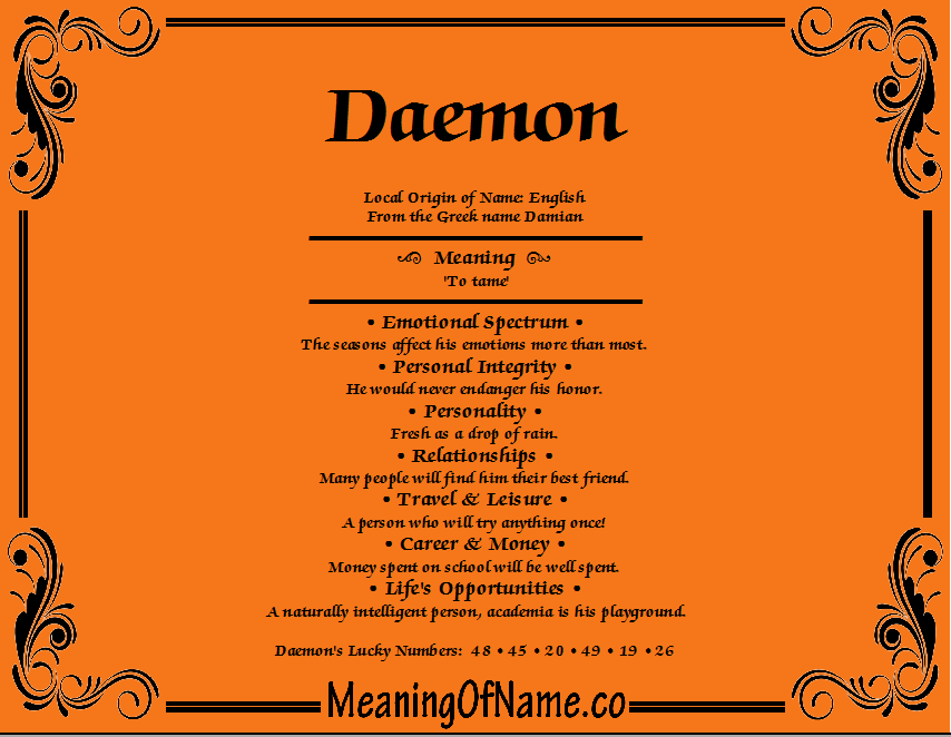 Meaning of Name Daemon