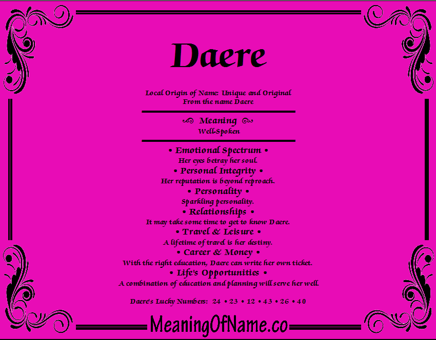 Meaning of Name Daere