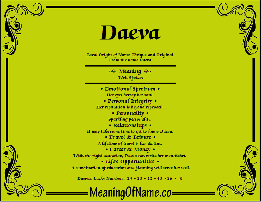 Meaning of Name Daeva