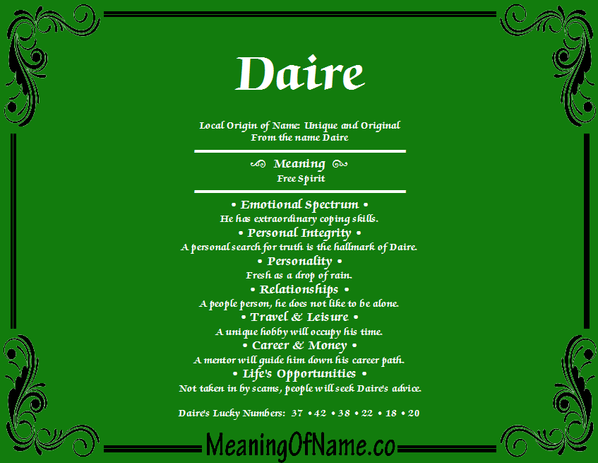 Meaning of Name Daire
