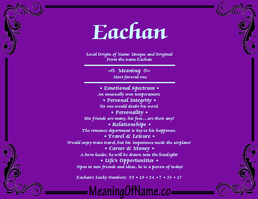 Meaning of Name Eachan