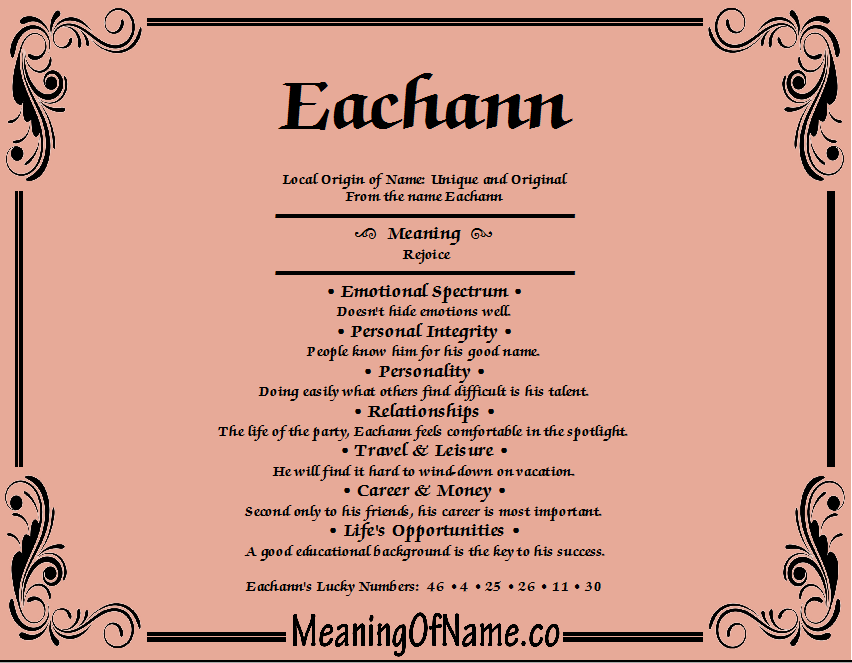 Meaning of Name Eachann