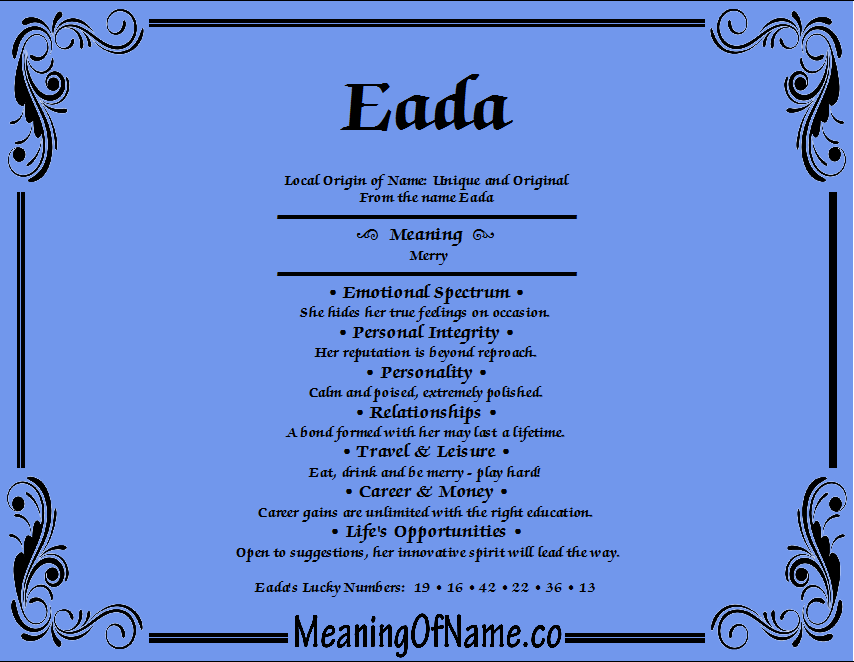 Meaning of Name Eada