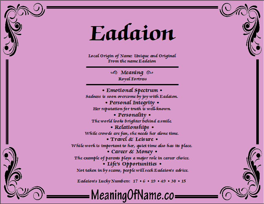 Meaning of Name Eadaion