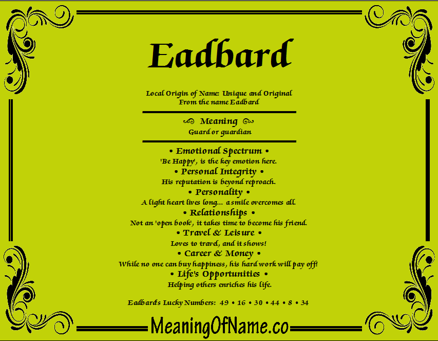 Meaning of Name Eadbard