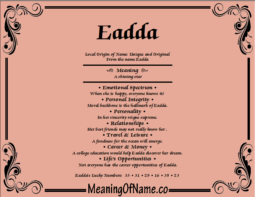 Meaning of Name Eadda