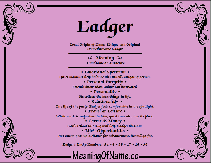Meaning of Name Eadger