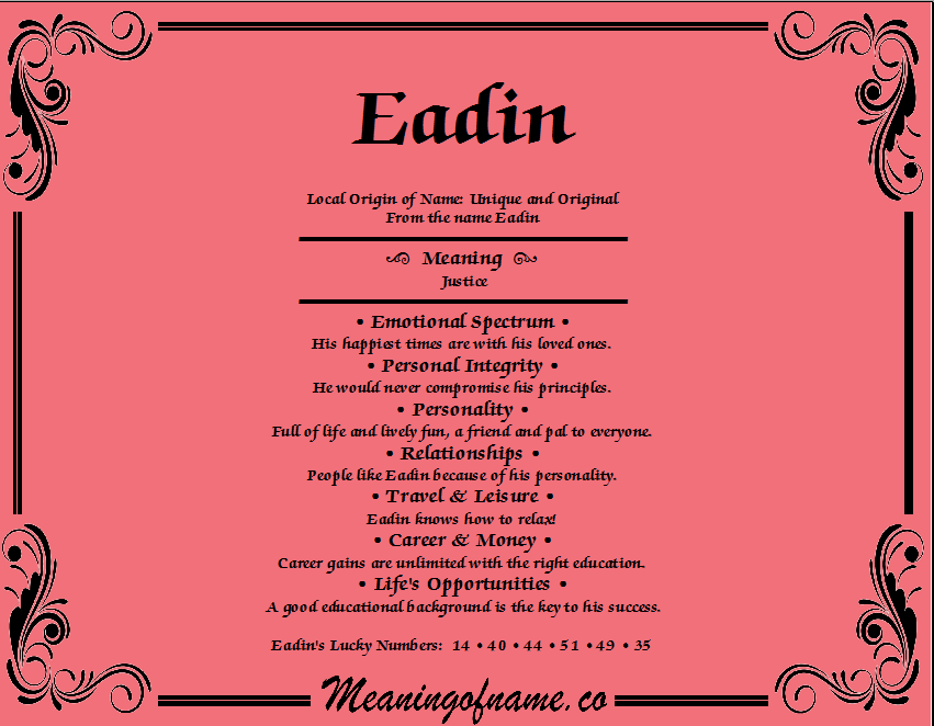 Meaning of Name Eadin